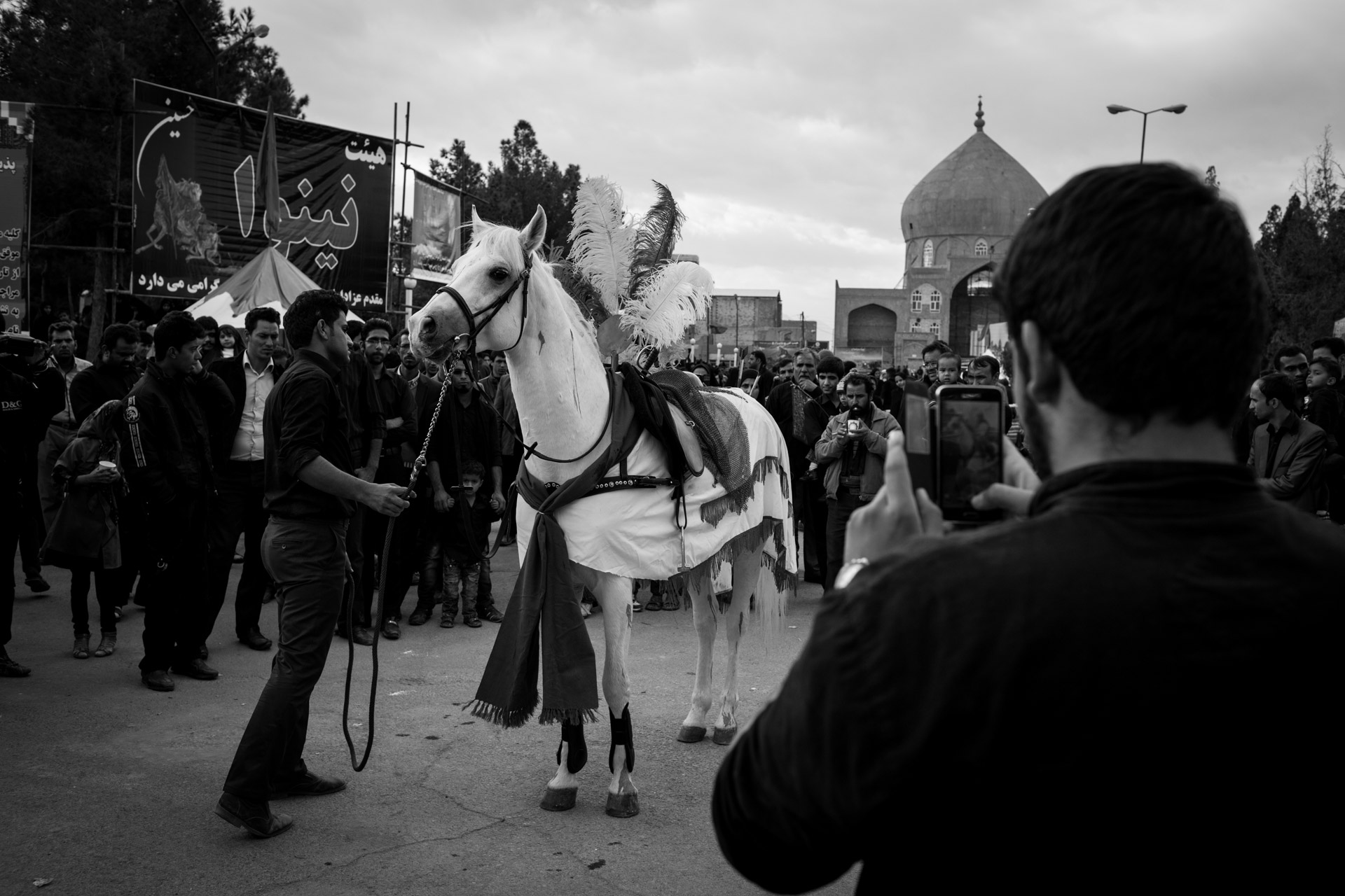 Zuljanah, the horse of Imam Hussain, is always portrayed wounded with blood stains, like its owner.
