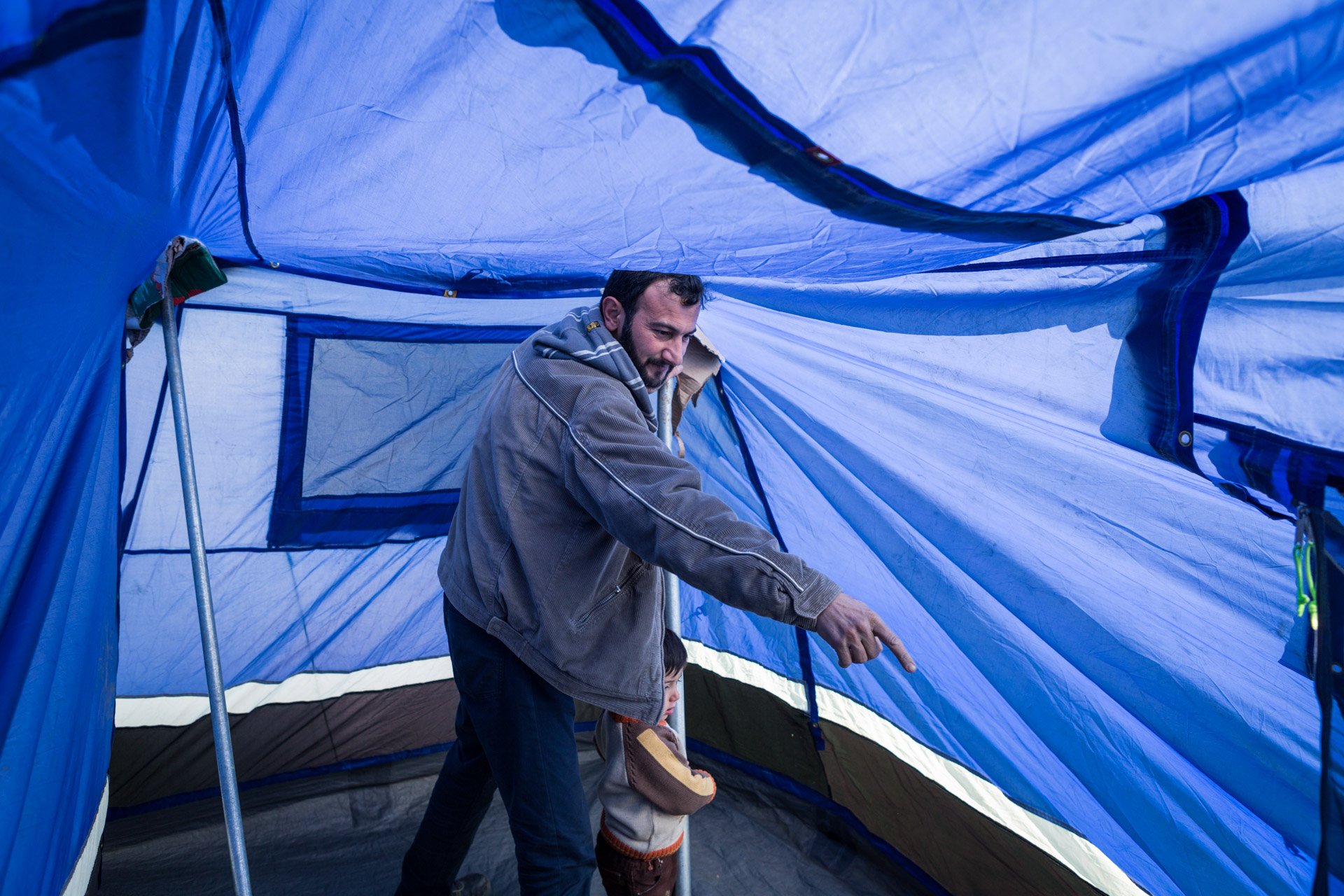 After the amount of refugees in Idomeni passed the mark of 10.000 people, Basem decided to move the tents. Also, he found a big broken tent, repaired it and set it up further away from the border to have more privacy.