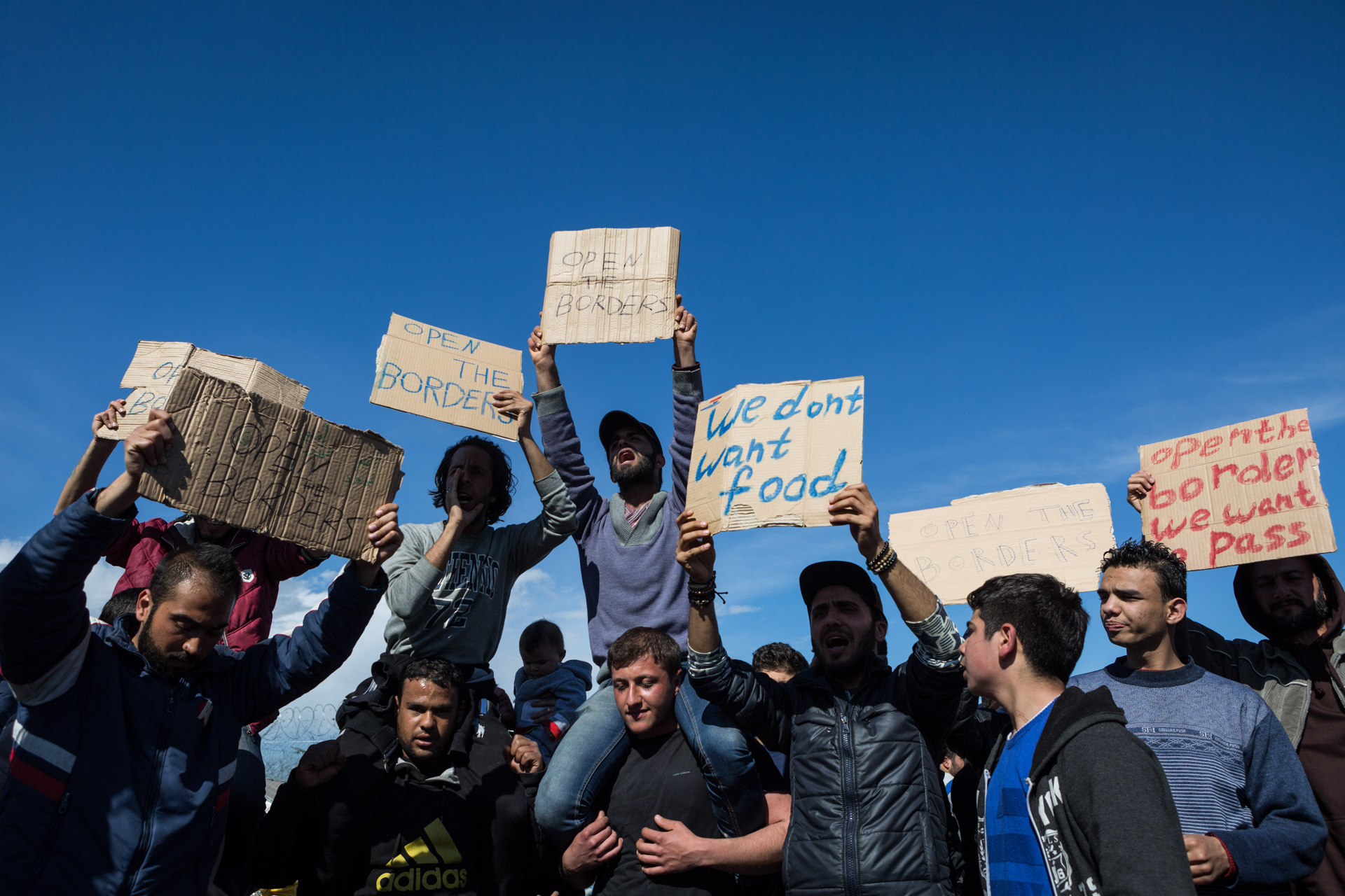 After a week in the camp, protests start to emerge. Basem is always part of the demonstrations in the camp. He holds a sign on the far right.