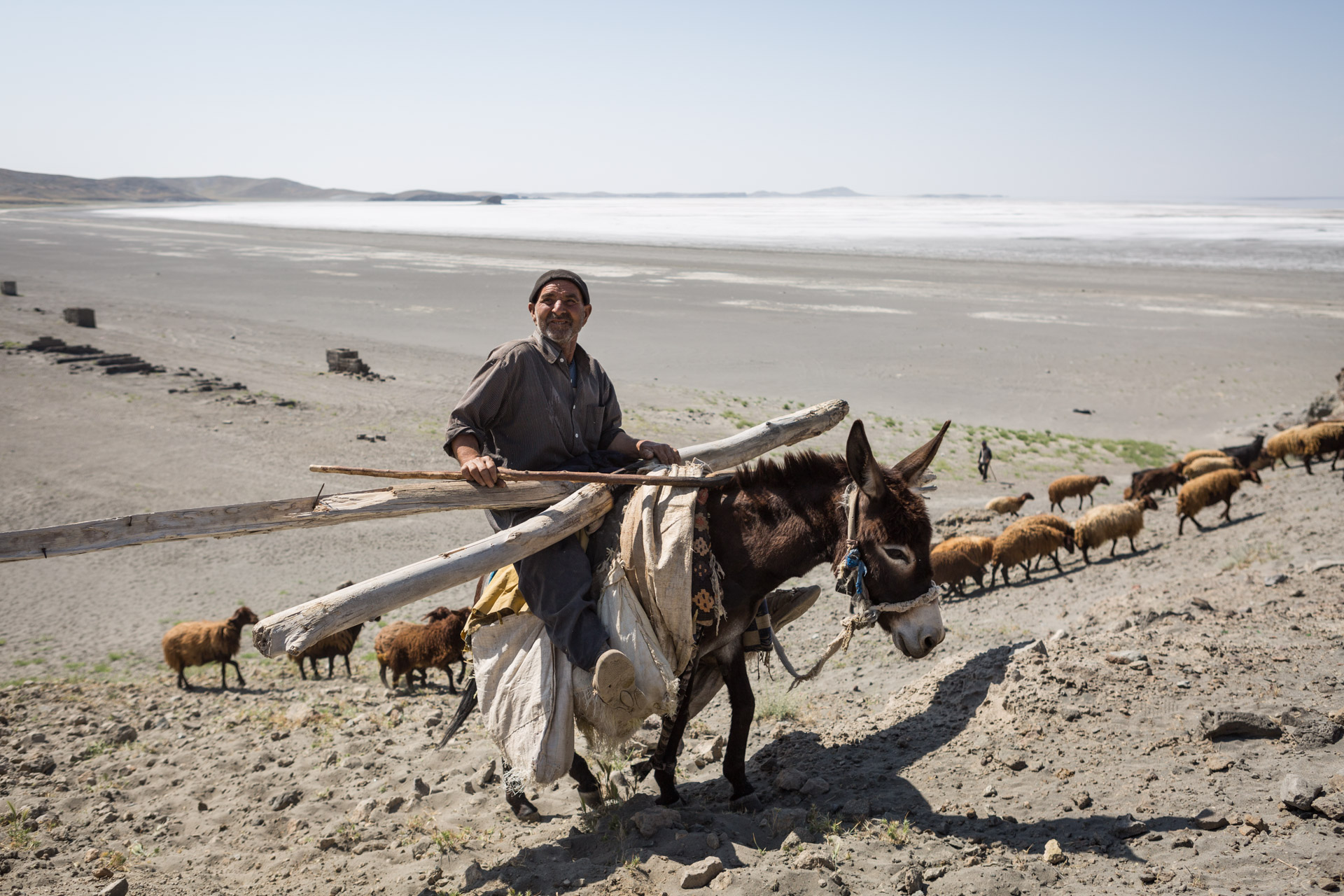 A shepherd rides his donkey at Lake Urmia. The shores of the lake used to stretch right behind him, today the white salt left behind by the vanishing water is all that can be seen for kilometres.