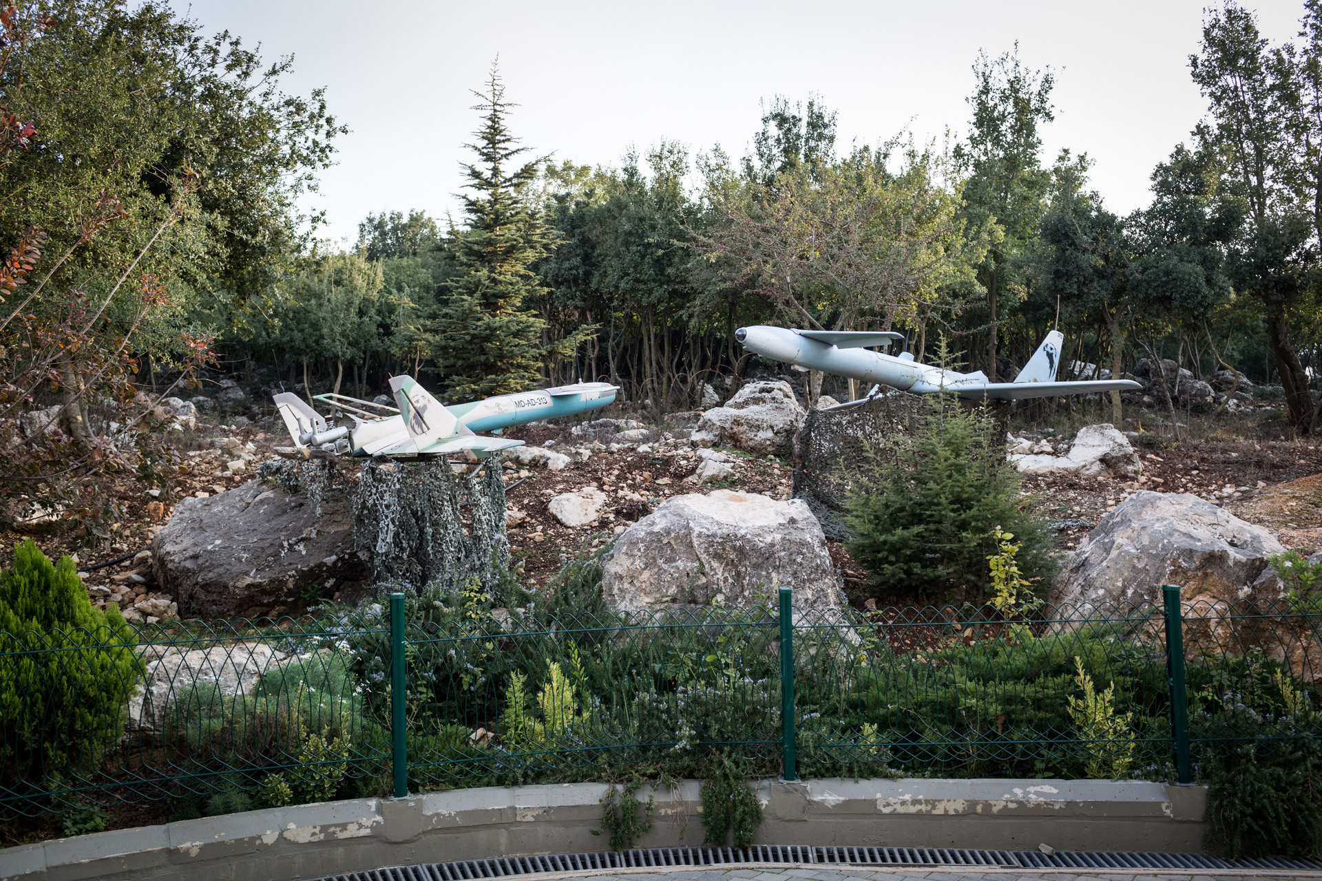 Two drones formerly operated by Hezbollah are on display in the outside compound of Mleeta.